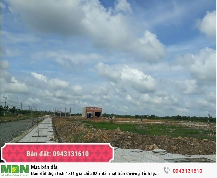 Bán đất diện tích 4x14 giá chỉ 392tr đất mặt tiền đường Tỉnh lộ 823 vùng giáp Củ Chi, Đất thổ 100%, có sổ hồng riêng