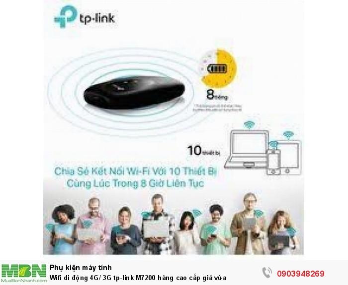Wi-Fi Di động 4G LTE M7200  dễ dàng chia sẻ kết nối 4G cùng một lúc cho 10 thiết bị và sử dụng được 8 giờ liên tục nhờ TP-Link M7200 có dung lượng Pin 2000mAh, TP-Link M7200
