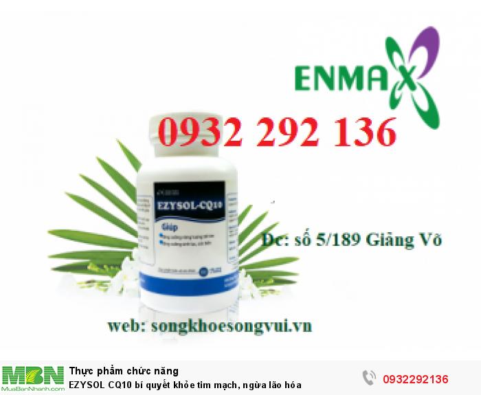 EZYSOL CQ10  có thành phần gồm CQ10, kết hợp cùng cao Nhàu và Mg có tác dụng giúp tăng cường sức khỏe tim mạch, tăng cường sức khỏe, hạn chế lão hóa và làm đẹp da. Liên hệ 0932 292 136 để được tư vấn và giao hàng0