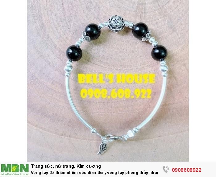Vòng tay đá thiên nhiên obsidian đen, vòng tay phong thủy nham thạch obsidian và charm bạc,