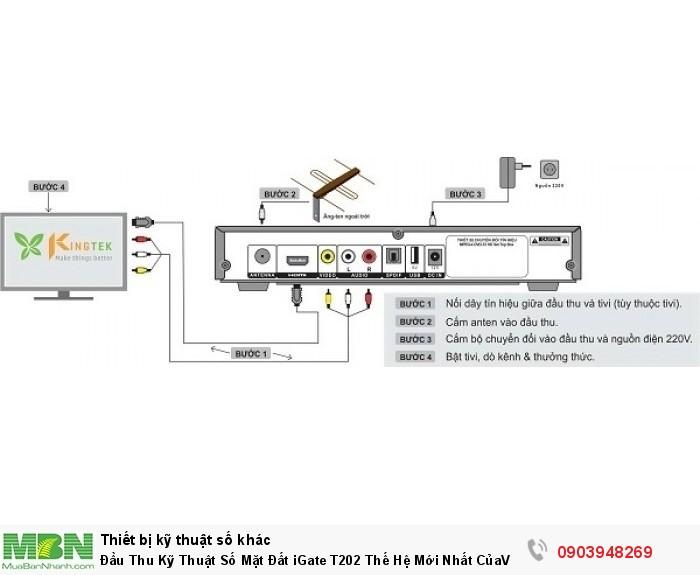 Đầu thu kỹ thuật số DVB T2 VNPT iGate T202 HD có Các cổng kết nối: - 1 cổng HDMI, Video, audio L/R, USB, RF in, RF out,