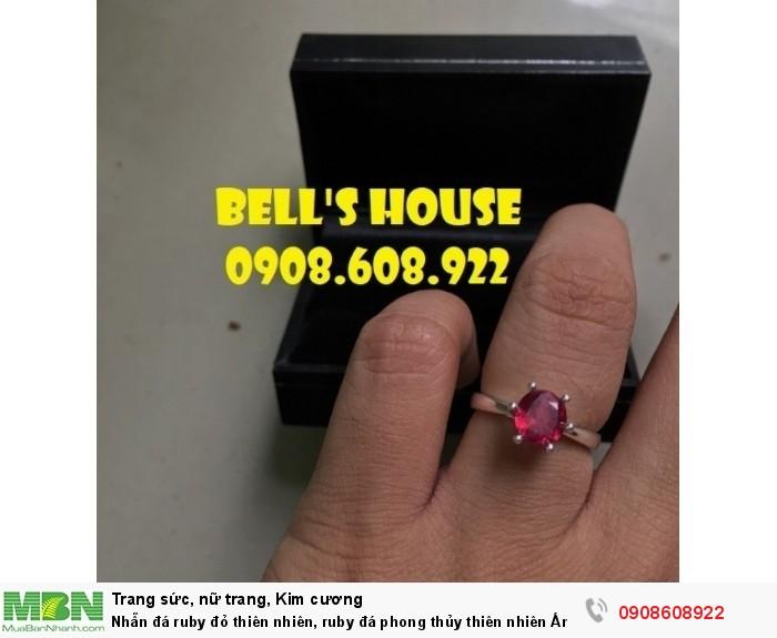 Nhẫn đá ruby đỏ thiên nhiên, ruby đá phong thủy thiên nhiên Ấn Độ, Bells House TPHCM,1