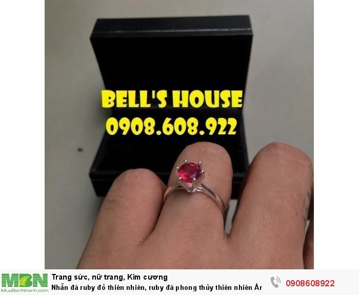 Nhẫn đá ruby đỏ thiên nhiên, ruby đá phong thủy thiên nhiên Ấn Độ, Bells House TPHCM,2