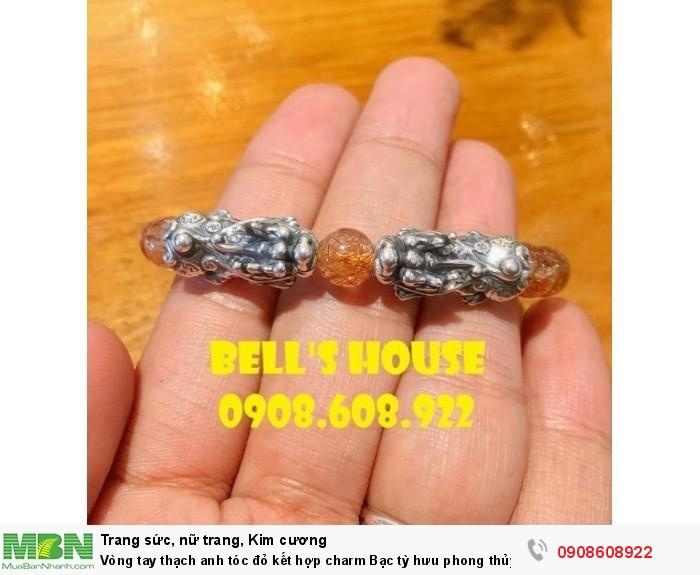 Vòng tay thạch anh tóc đỏ kết hợp charm Bạc tỳ hưu phong thủy Bells House TPHCM,1