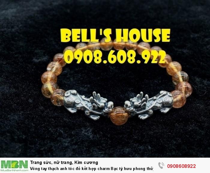 Vòng tay thạch anh tóc đỏ kết hợp charm Bạc tỳ hưu phong thủy Bells House TPHCM,2