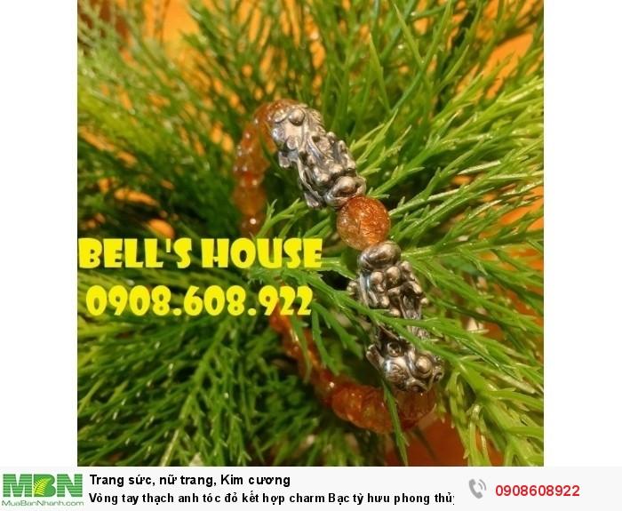 Vòng tay thạch anh tóc đỏ kết hợp charm Bạc tỳ hưu phong thủy Bells House TPHCM,4