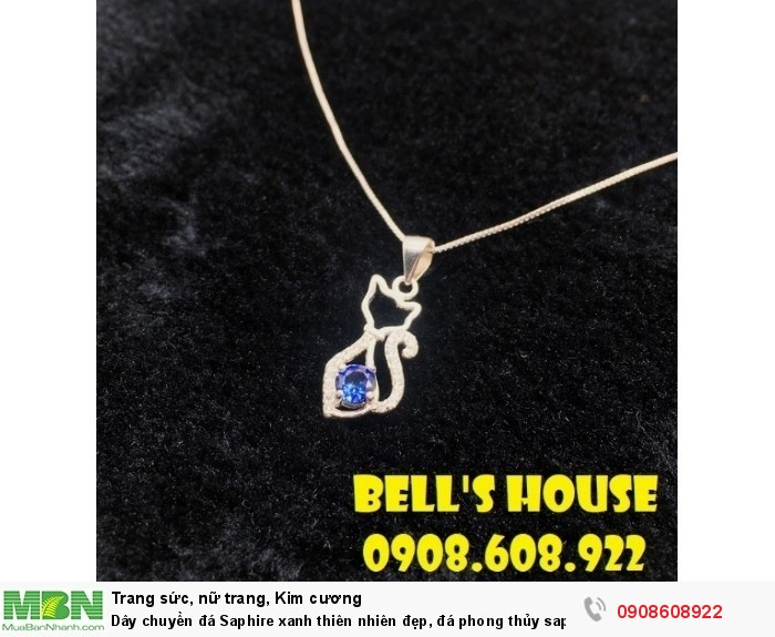 Dây chuyền đá Saphire xanh thiên nhiên đẹp, đá phong thủy saphire xanh Bells House TPHCM,0