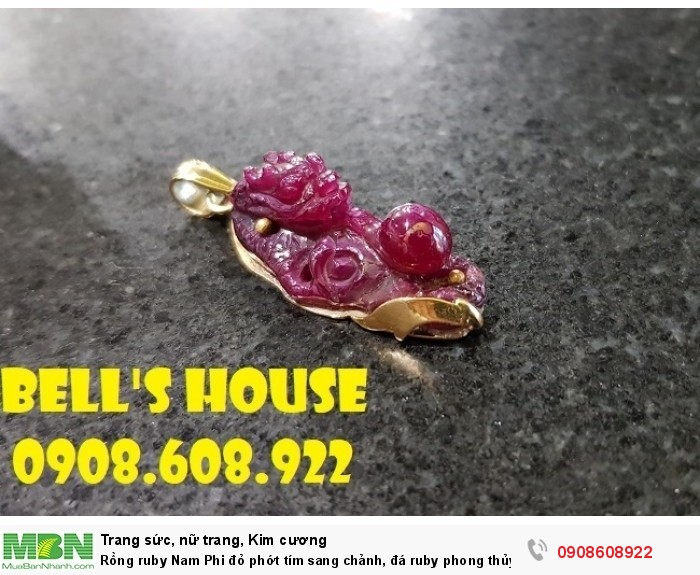 Rồng ruby Nam Phi đỏ phớt tím sang chảnh, đá ruby phong thủy Rồng tài lộc Bells House TPHCM,4