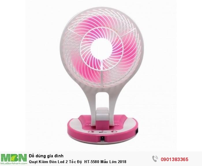 Quạt tích điện kèm đèn pin Mini Fan HT-5580 được thiết kế nhỏ gọn đẹp mắt.