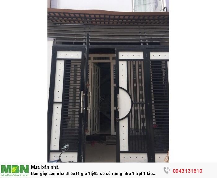 Bán gấp căn nhà dt 5x14 giá 1tỷ85 có sổ riêng nhà 1 trệt 1 lầu đường Nguyễn Văn Bứa gần trường TH Nhị Xuân