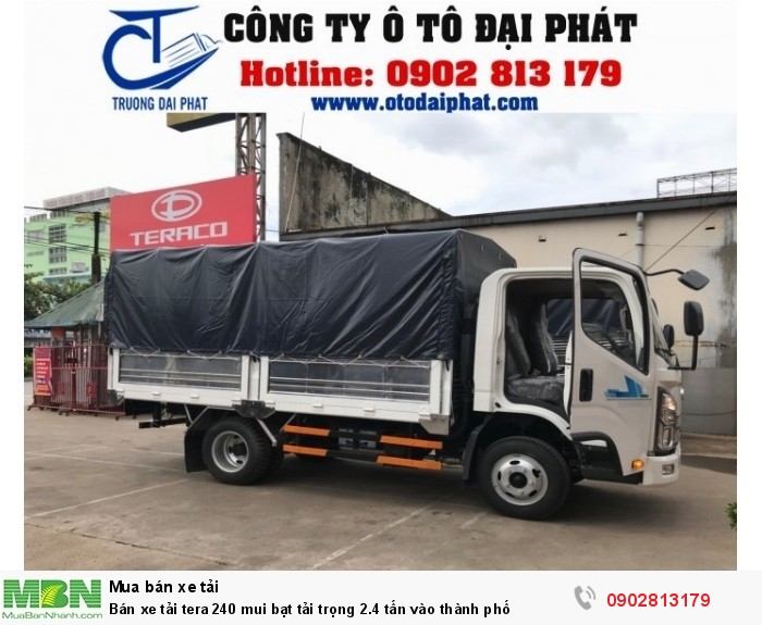 Bán xe tải tera 240 mui bạt tải trọng 2.4 tấn vào thành phố