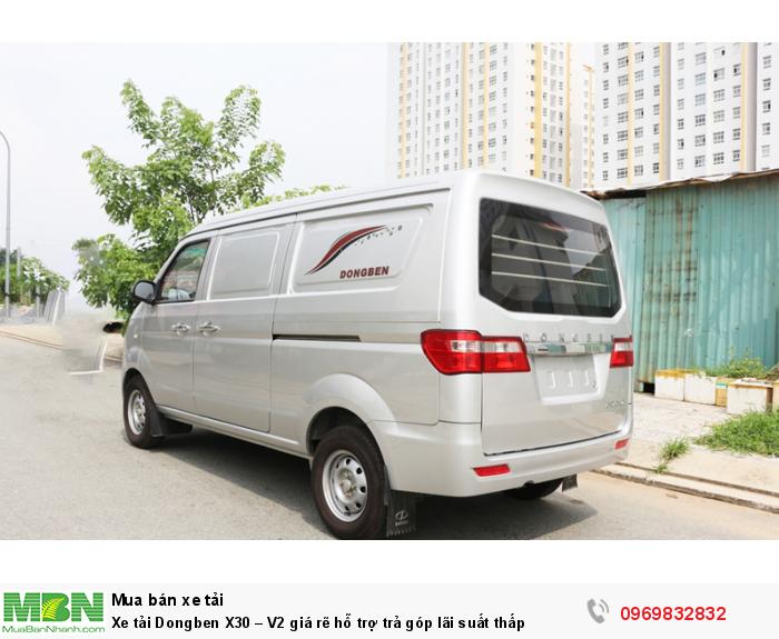 Xe DongBen X30 V2 có thùng xe rất rộng rãi, chở được nhiều hàng hóa và rất thuận tiện khi bốc xếp hoặc tháo dỡ hàng hóa với hai cửa lùo hai bên và cửa sau mở lên.