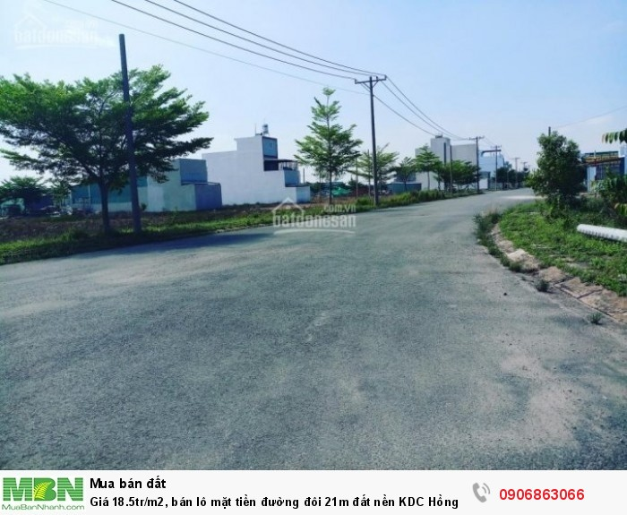 Giá  18.5tr/m2, bán lô mặt tiền đường đôi 21m đất nền KDC Hồng Quang 13A huyện Bình Chánh, DT 122,4m2