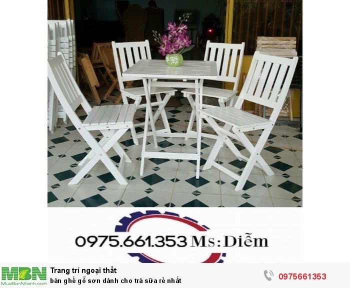 Bàn ghế gỗ sơn dành cho trà sữa rẻ nhất