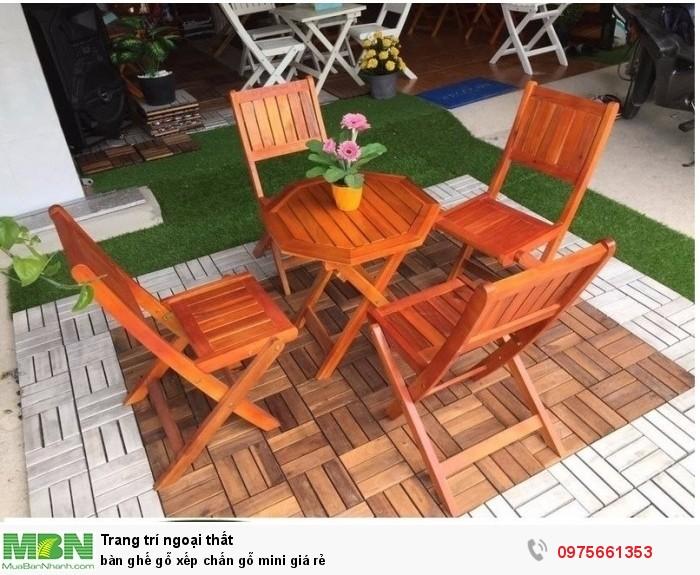 Bàn ghế gỗ xếp chấn gỗ mini giá rẻ