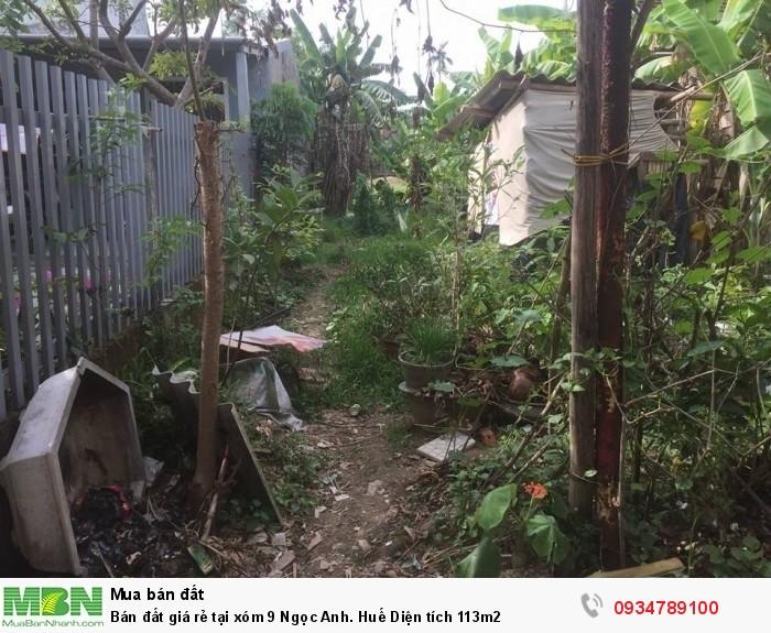 Bán đất giá rẻ tại xóm 9 Ngọc Anh. Huế Diện tích 113m2