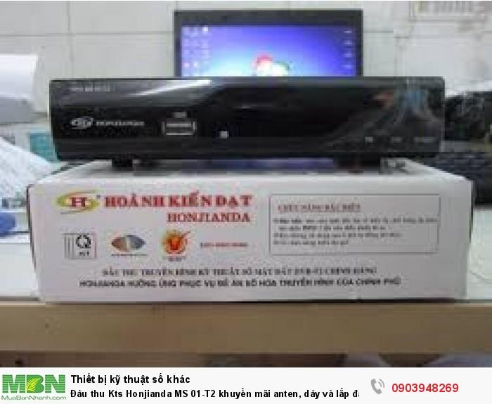 Trọn bộ gồm có: Đầu thu HONJIANDA HKD MS-01, dây AV, pin, Remote, hướng dẫn sử dụng.