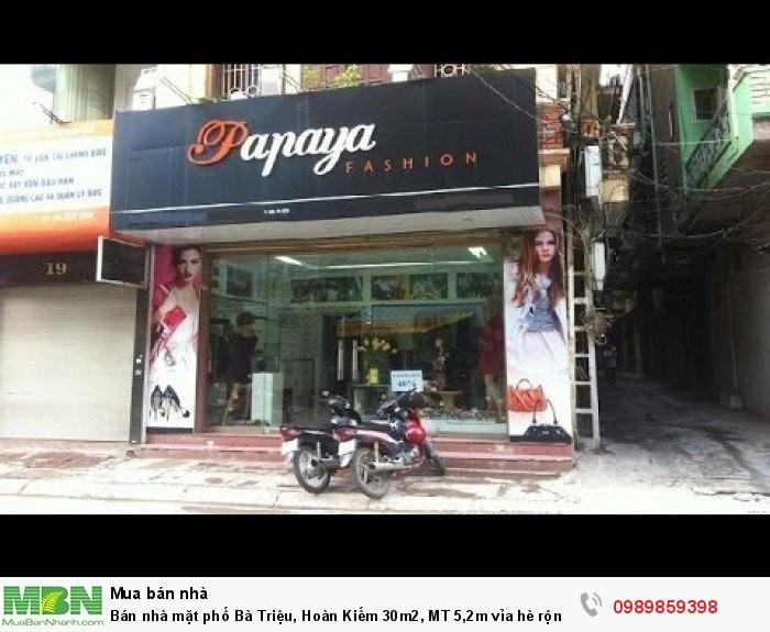 Bán nhà mặt phố Bà Triệu, Hoàn Kiếm 30m2, MT 5,2m vỉa hè rộng, 19.2 tỷ