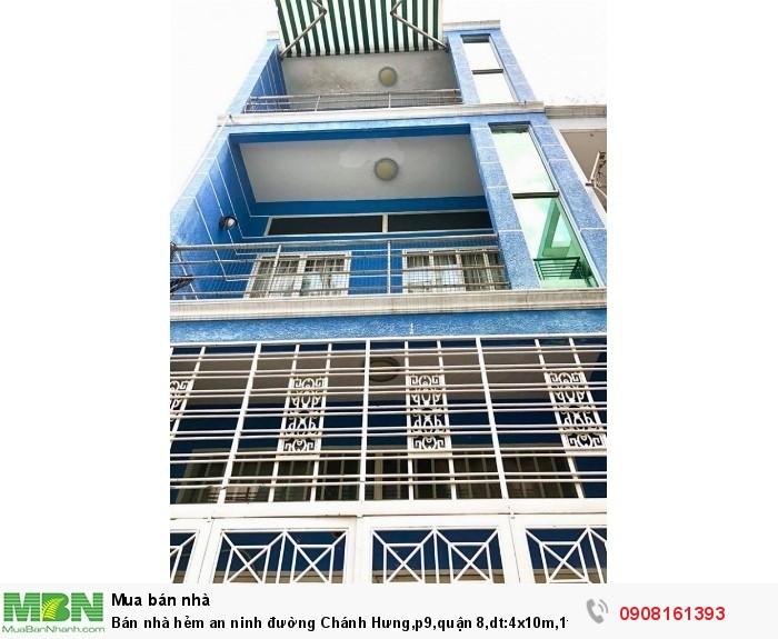 Bán nhà hẻm an ninh đường Chánh Hưng,p9,quận 8,dt:4x10m,1tr 2lầu