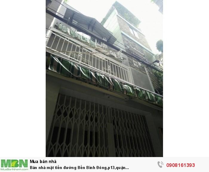 Bán nhà mặt tiền đường Bến Bình Đông,p13,quận 8,dt:4.2x20m,1tr,1L,1Lầu