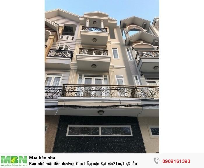 Bán nhà mặt tiền đường Cao Lỗ,quận 8,dt:4x21m,1tr,3 lầu