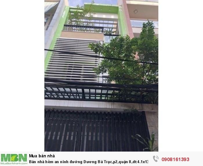 Bán nhà hẻm an ninh đường Dương Bá Trạc,p2,quận 8,dt:4.1x13m,1tr 2lầu,st