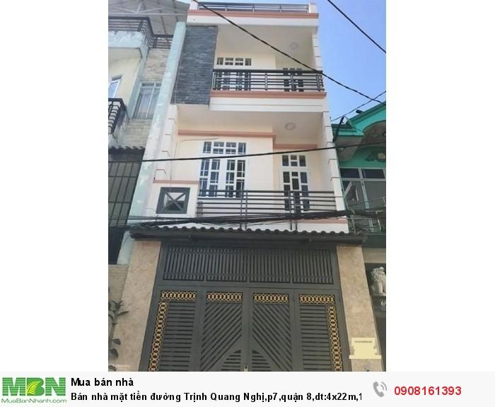 Bán nhà mặt tiền đường Trịnh Quang Nghị,p7,quận 8,dt:4x22m,1tr, 2lầu,st
