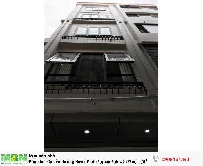 Bán nhà mặt tiền đường Hưng Phú,p9,quận 8,dt:4.2x27m,1tr,3lầu