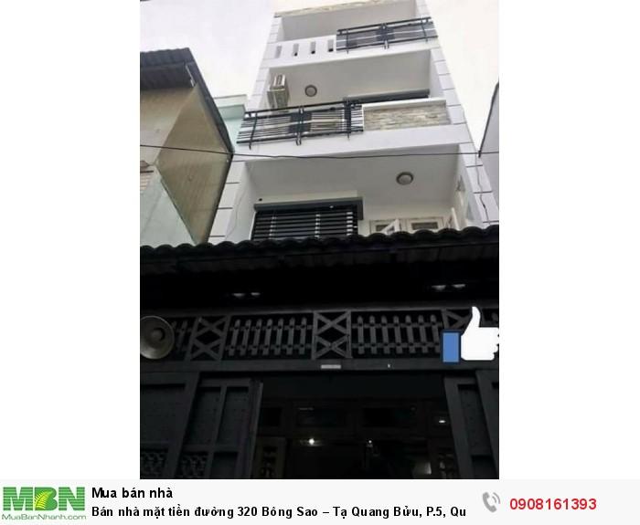 Bán nhà mặt tiền đường 320 Bông Sao – Tạ Quang Bửu, P.5, Quận 8,dt:5x18m,1tr,3lầu