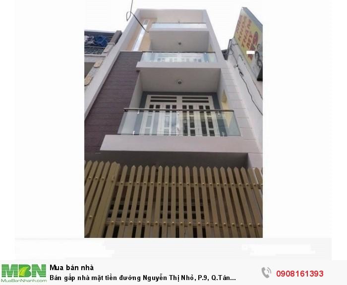 Bán gấp nhà mặt tiền đường Nguyễn Thị Nhỏ, P.9, Q.Tân Bình,dt:3.2x22m,1 trệt, 1 lững,2 lầu