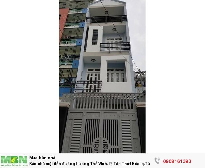 Bán nhà mặt tiền đường Lương Thế Vinh. P. Tân Thới Hòa, q.Tân Phú, dt:4x20m,  1 trệt, 3 lầu