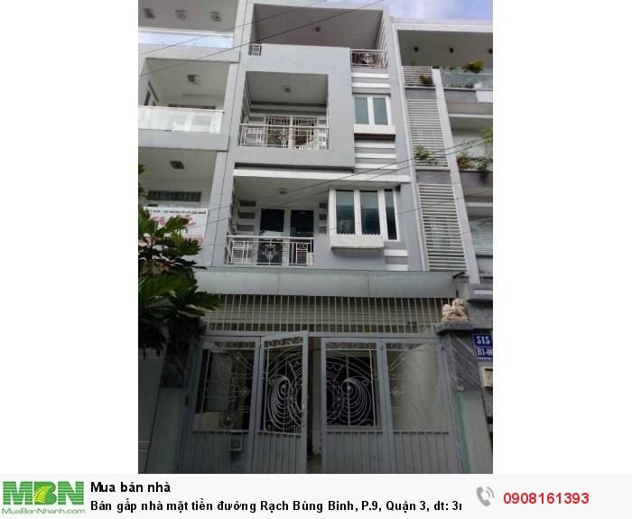 Bán gấp nhà mặt tiền đường Rạch Bùng Binh, P.9, Quận 3, dt: 3m x 15m NH 3.1m, 1trệt, 2 lầu,st