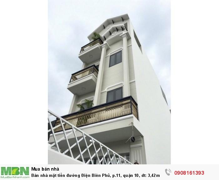 Bán nhà mặt tiền đường Điện Biên Phủ, p.11, quận 10, dt: 3,42m X 19m, 1 Trệt,1 lững,3 Lầu