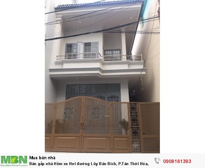 Bán gấp nhà Hẻm xe Hơi đường Lũy Bán Bích, P.Tân Thới Hòa, Q.Tân Phú, dt:4m x 17m, 1tr, 1 lầu