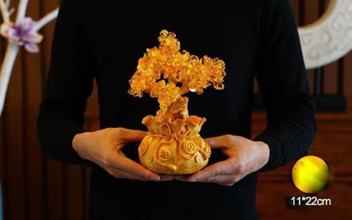 Cây Tài Lộc Đá Thạch Anh Vàng Thiềm Thừ 21.5cm