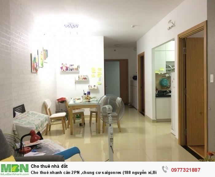 Cho thuê nhanh căn 2PN ,chung cư saigonres (188 Nguyễn Xí, Bình Thạnh)