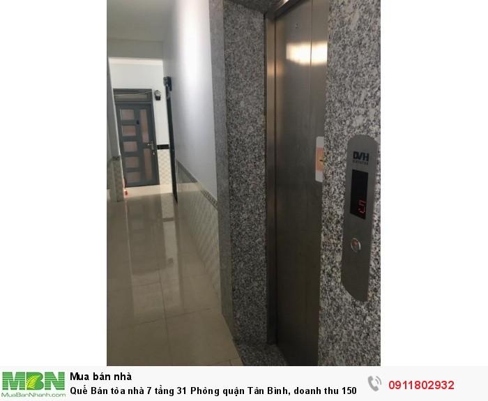 Bán tòa nhà 7 tầng 31 Phòng quận Tân Bình, doanh thu 150 triệu/ tháng, diện tích 195m2.