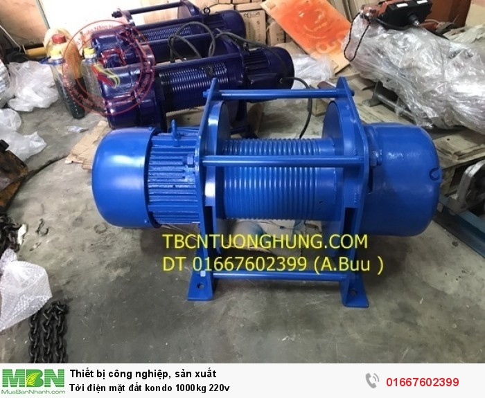Tời điện mặt đất kondo 1000kg 220v