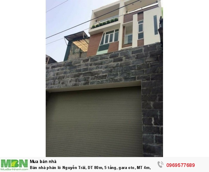 Bán nhà phân lô Nguyễn Trãi, DT 80m, 5 tầng, gara oto, MT 4m,