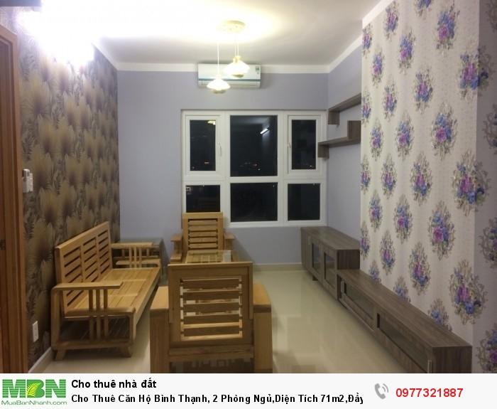 Cho Thuê Căn Hộ Bình Thạnh, 2 Phòng Ngủ,Diện Tích 71m2,Đầy Đủ Nội Thất