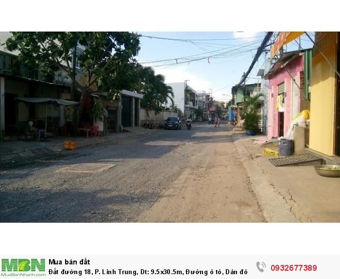 Đất đường 18, P. Linh Trung, Dt: 9.5x30.5m, Đường ô tô, Dân đông, Giá chỉ 18 triệu/m2