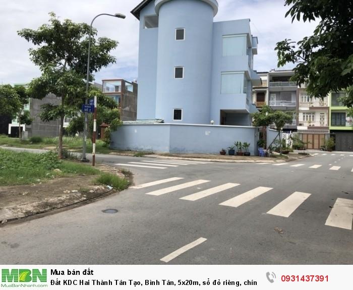Đất KDC Hai Thành Tân Tạo, Bình Tân, 5x20m, sổ đỏ riêng, chính chủ