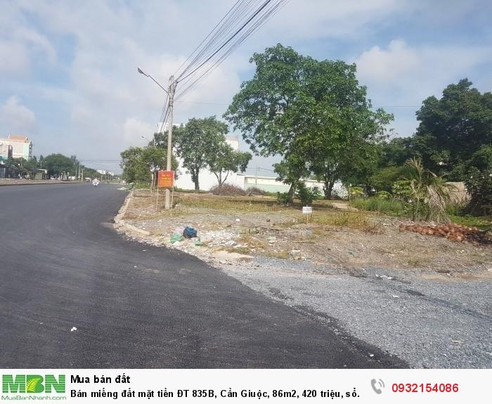 Bán miếng đất mặt tiền ĐT 835B, Cần Giuộc, 86m2, 420 triệu, sổ hồng riêng