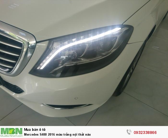 Mercedes S400 2016 màu trắng nội thất nâu