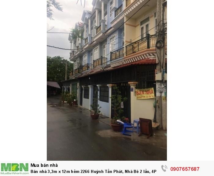 Bán nhà 3,3m x 12m hẻm 2266 Huỳnh Tấn Phát, Nhà Bè 2 lầu, 4PN