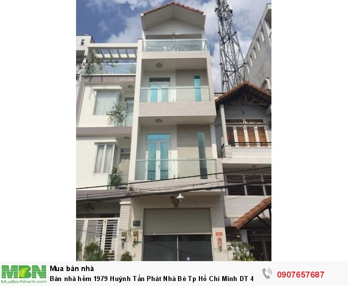 Bán nhà hẻm 1979 Huỳnh Tấn Phát Nhà Bè Tp Hồ Chí Minh DT 4m x 14m, nhà 3 lầu, 4PN, đường 12m