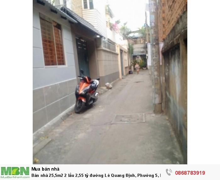 Bán nhà 25,5m2 2 lầu 2,55 tỷ đường Lê Quang Định, Phường 5, Bình Thạnh