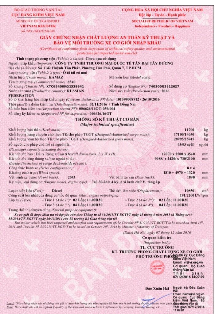 Xe Kamaz 6540 (8x4) Tải Thùng Dài 9m1 Giá Rẻ Nhất Thị Trường