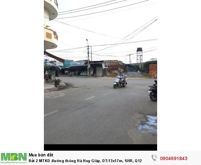 Đất 2 MTKD đường thông Hà Huy Giáp, DT:13x17m, SHR, Q12