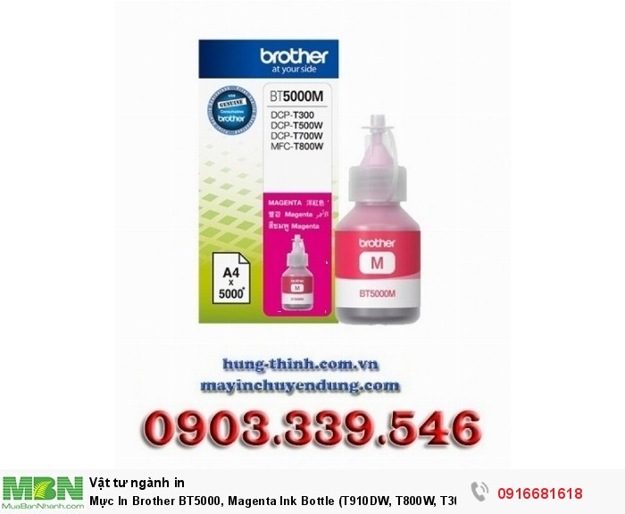 Mực In Brother BT5000, Magenta Ink Bottle (T910DW, T800W, T300, T700W)0